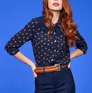 MODCLOTH Still Indie You Pearl Snap Shirt - XL
